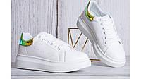 Женские кроссовки белые в стиле Adidas кожа блестящий задник Италия