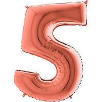 "Фольгована кулька цифра металік Рожеве золото ""5"" ""40"" Grabo УП"