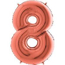 "Фольгована кулька цифра металік Рожеве золото ""8"" ""40"" Grabo УП"