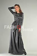 Женское платье из атласа черного цвета в горошек  42-44