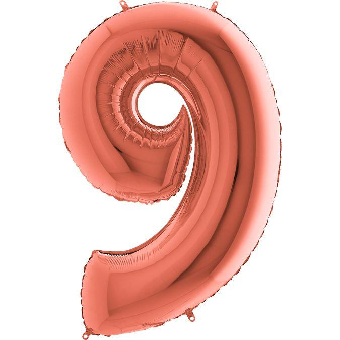 "Фольгована кулька цифра металік Рожеве золото ""9"" ""40"" УП"