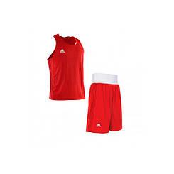 Форма для занятий боксом Adidas (шорты + майка, красная, ADIBPLS01_CA)