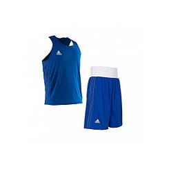 Форма для занятий боксом Adidas (шорты + майка, синяя, ADIBPLS01_CA)