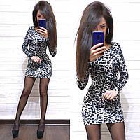 Коктейльное мини-платье с леопардовым принтом