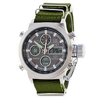 Мужские часы AMST Silver-Black Green Wristband, армейские наручные часы