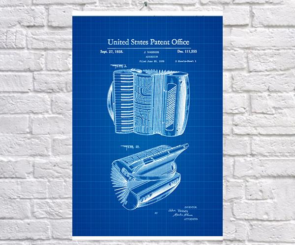 Постер BEGEMOT Патент-чертеж Аккордеон 1938 год 40x61 см Синий (1120156)