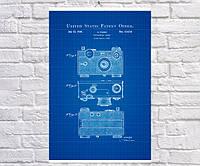 Постер BEGEMOT Патент-чертеж Фотоаппарат Аргус 40x61 см Синий (1120179)
