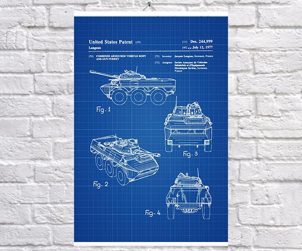 Постер BEGEMOT Патент-чертеж Боевой танк 40x61 см Синий (1120182)
