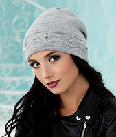 Зимняя женская шапка «Соренто» Светло-серый меланж