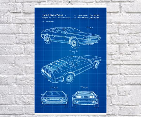 Постер BEGEMOT Патент-чертеж Автомобиль Delorean 40x61 см Синий (1120265)
