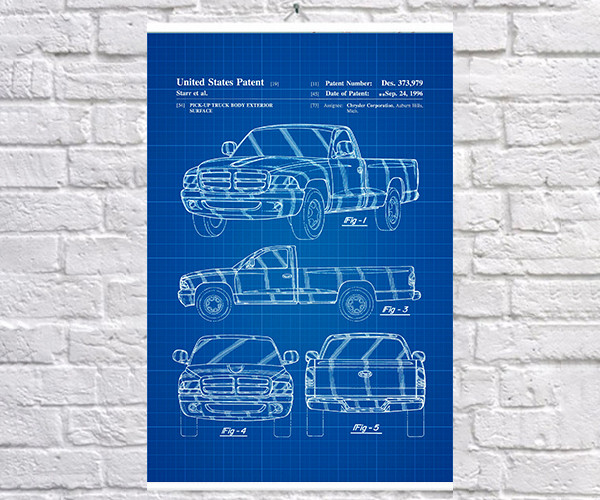 Постер BEGEMOT Патент-чертеж Внедорожник Dodge 40x61 см Синий (1120277)