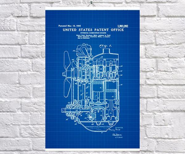 Постер BEGEMOT Патент-чертеж Двигатель Ford 1935г 40x61 см Синий (1120334)