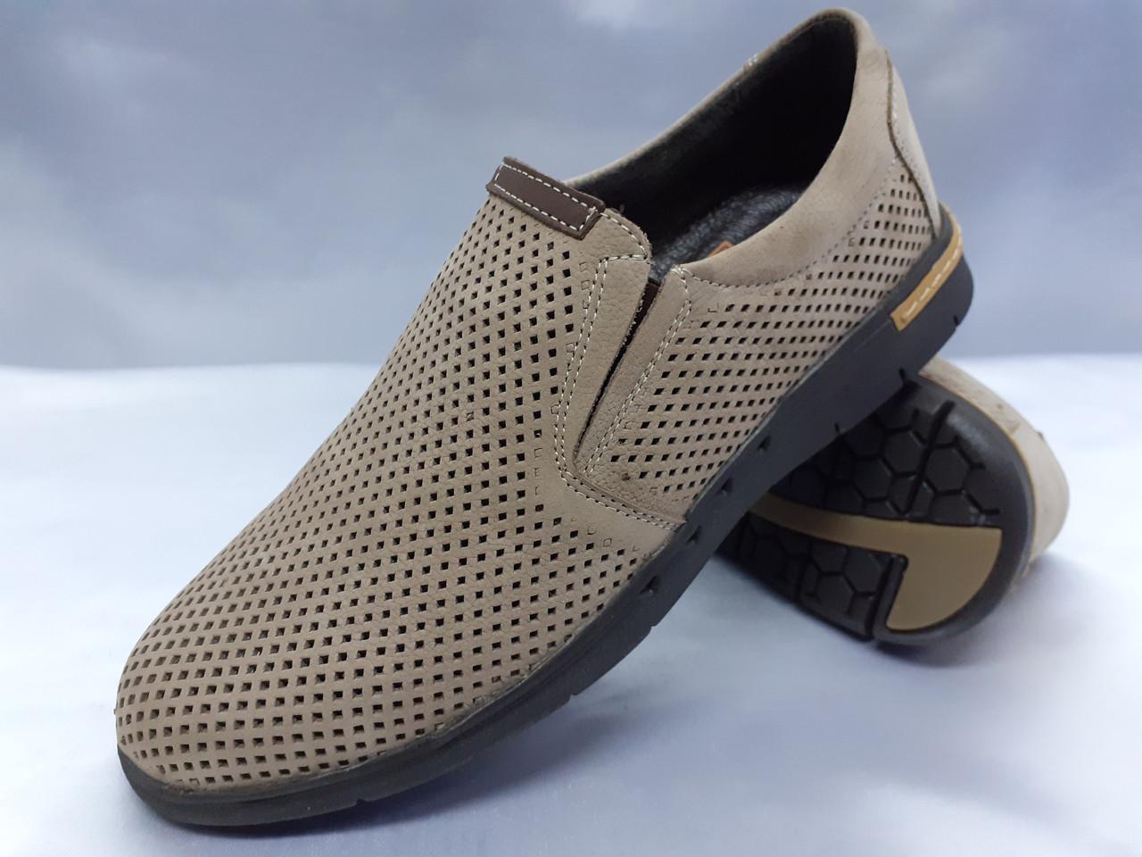 Летние комфортные песочные нубуковые туфли Detta