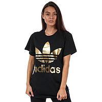 Черная футболка для девушки Адидас Adidas оверсайз с золотистым принтом (РЕПЛИКА)
