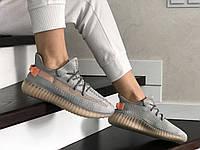 Женские кроссовки Adidas Yeezy Boost 350 (Адидас Изи Буст 350), серые с персиковым, код SD-8902
