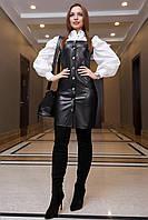 Кожаное платье сарафан на пуговицах 42-48 размера черное