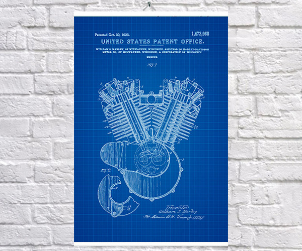 Постер BEGEMOT Патент-чертеж Двигатель Harley Davidson 40x61 см Синий (1120370)