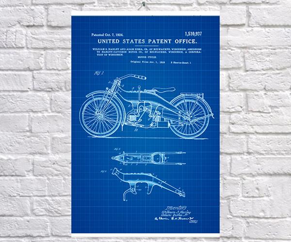 Постер BEGEMOT Патент-чертеж Мотоцикл Harley Davidson 40x61 см Синий (1120374)