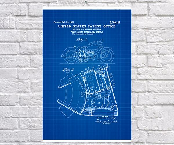 Постер BEGEMOT Патент-чертеж Мотоцикл Harley Davidson 1938г 40x61 см Синий (1120379)