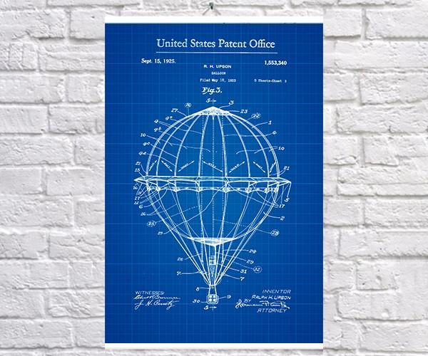 Постер BEGEMOT Патент-чертеж Воздушный шар 40x61 см Синий (1120390)