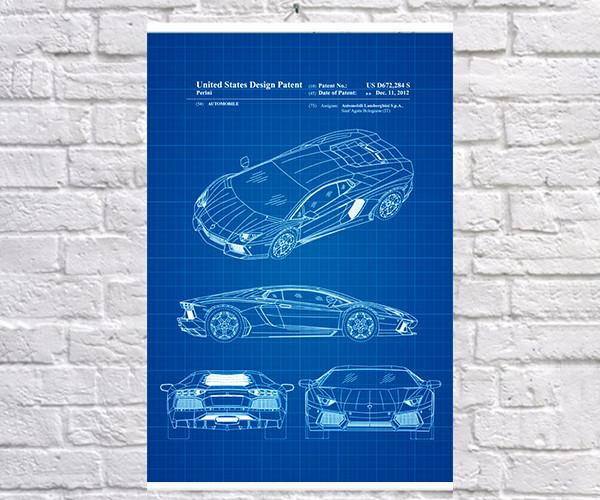 Постер BEGEMOT Патент-чертеж Автомобиль Lamborghini Aventador 40x61 см Синий (1120414)