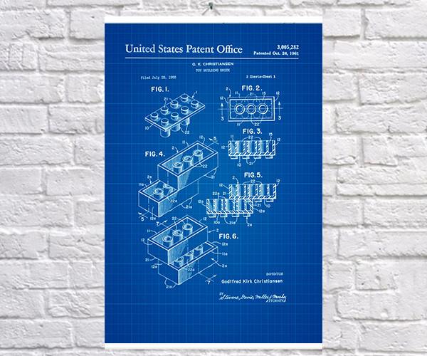 Постер BEGEMOT Патент-чертеж Конструктор Lego 40x61 см Синий (1120421)