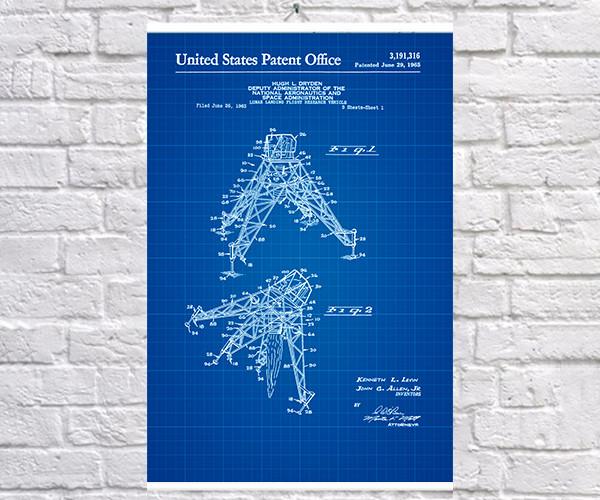 Постер BEGEMOT Патент-чертеж Лунно-десантно-транспортное средство 40x61 см Синий (1120447)