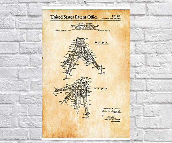 Постер BEGEMOT Патент-чертеж Лунно-десантно-транспортное средство 40x61 см Желтый (1120448)