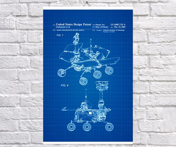 Постер BEGEMOT Патент-чертеж Марсоход 40x61 см Синий (1120459)