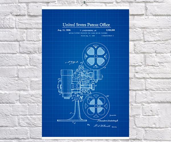 Постер BEGEMOT Патент-чертеж Кинопроектор 1936г 40x61 см Синий (1120471)