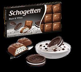 Німецький шоколад Шогеттен Black and White молочний з печивом Орео 100 грам