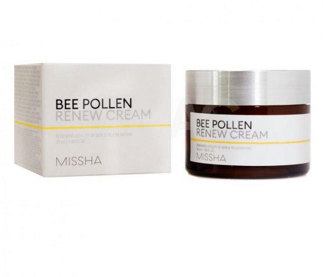 Восстанавливающий крем для лица на основе пчелиной пыльцы MISSHA Bee Pollen Renew cream