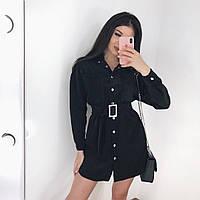 Женское платье-рубашка черное, фото 1