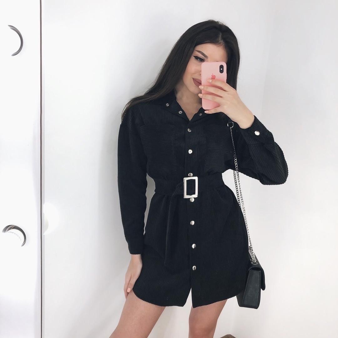 Женское платье-рубашка черное