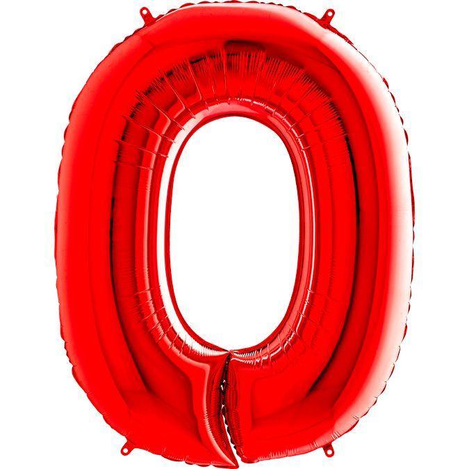 """Фольгована кулька цифра пастель Червона """"0"""" """"40"""" уп red"""