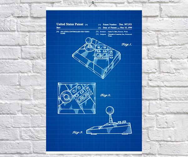Постер BEGEMOT Патент-чертеж Джойстик Nintendo Nes-advantage 40x61 см Синий (1120494)