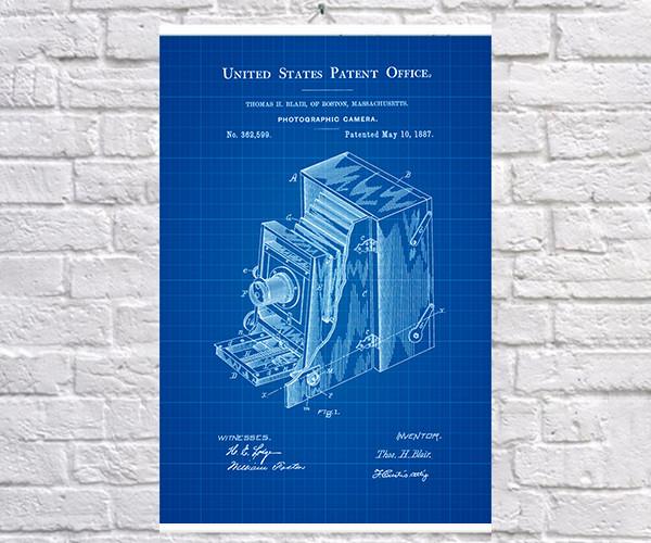 Постер BEGEMOT Патент-чертеж Фотокамера 40x61 см Синий (1120514)