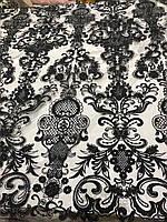 Глиттер (Блеск)  с узором, турецкого качества . цвет: черный