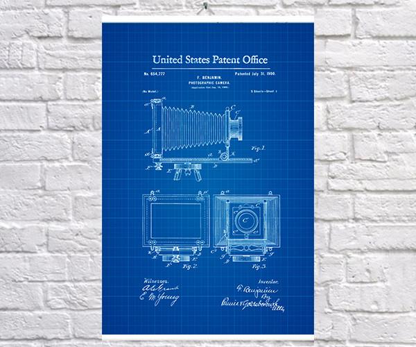 Постер BEGEMOT Патент-чертеж Фотокамера 1900г 40x61 см Синий (1120523)