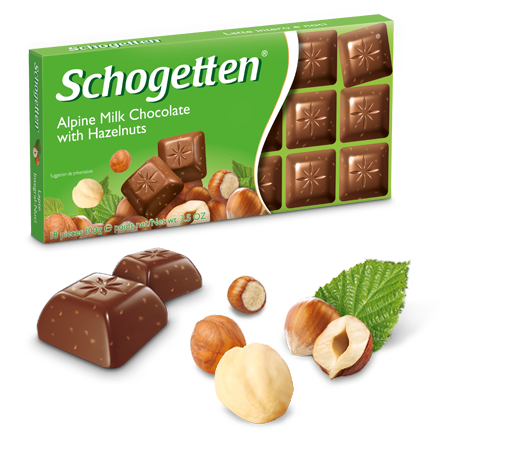 Шогеттен шоколад Alpine Milk with Hazelnuts молочный с кусочками лесного ореха 100 грамм