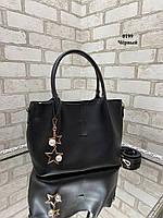 Большая вместительная черная женская сумка на плечо шоппер экокожа, фото 1