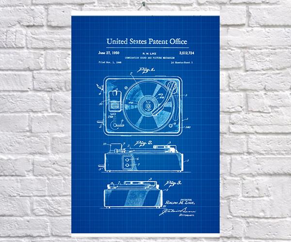 Постер BEGEMOT Патент-чертеж Проигрыватель 1950г 40x61 см Синий (1120542)