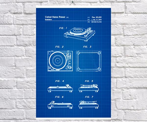 Постер BEGEMOT Патент-чертеж Проигрыватель 40x61 см Синий (1120546)
