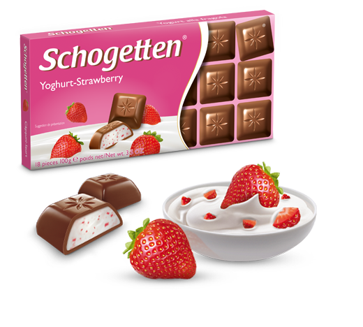 Шоколад Шогеттен Yoghurt-Strawberry молочный с клубничным йогуртом 100 грамм