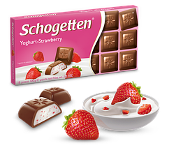 Шоколад Шогеттен Yoghurt-Strawberry молочний з полуничним йогуртом 100 грам