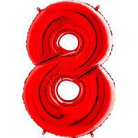 """Фольгована кулька цифра пастель Червона """"8"""" """"40"""" уп red"""
