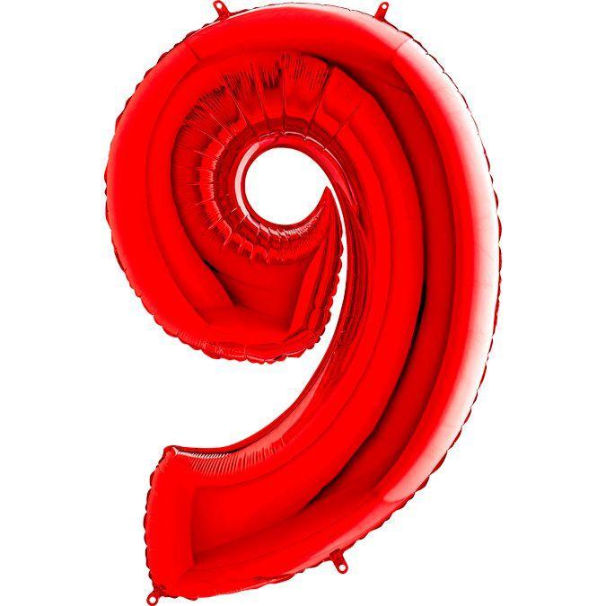 """Фольгована кулька цифра пастель Червона """"9"""" """"40"""" уп red"""