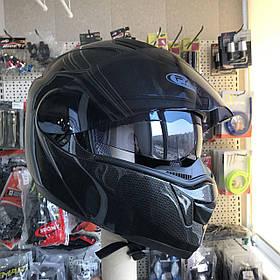 Карбоновый  Мото шлем трансформер модуляр с дополнительными солнезащитными очками