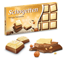 SchogettenTrilogia мікс чорного, білого і молочного шоколаду 100 грам