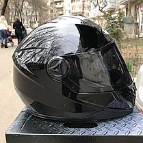Чёрный шлем интеграл полнопрофильный Foxwell глянец, фото 3
